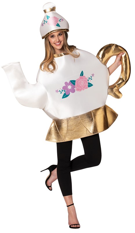 Rasta Imposta Tea Pot with Lid Beauty and the Beast Mrs. Potts Teapot Halloween Costume Adult One Size