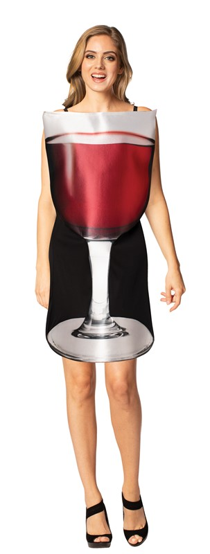 Rasta Imposta Get Real Glass of Red Wine Drink Cheese and Wine Merlot Pinot Noir Bordeaux Burgundy Halloween Costume Adult One Size