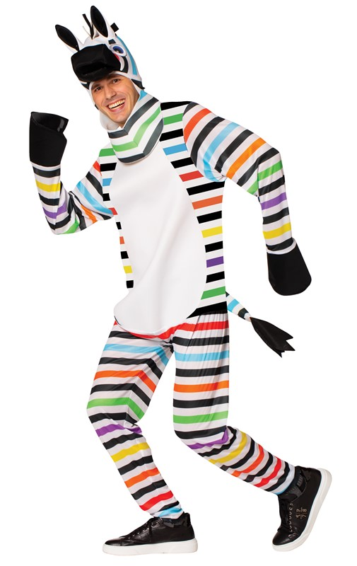 Rasta Imposta Rainbow Zebra Colorful Striped Horse Halloween Costume Adult One Size