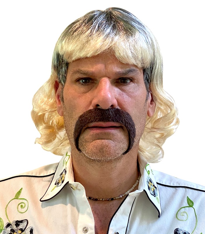 Rasta Imposta Crazy Exotic Shoulder Length Ombre Blonde Mullet Wig with Roots & Mustache Halloween Costume, Adult One Size