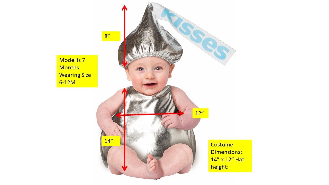 Hershey Kiss Baby Costume Hershey/'s Chocolate Kisses Candy Child Size 6-12 Mos